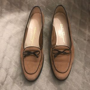 Salvatore Ferragamo Brown Shoes with Bow Accent